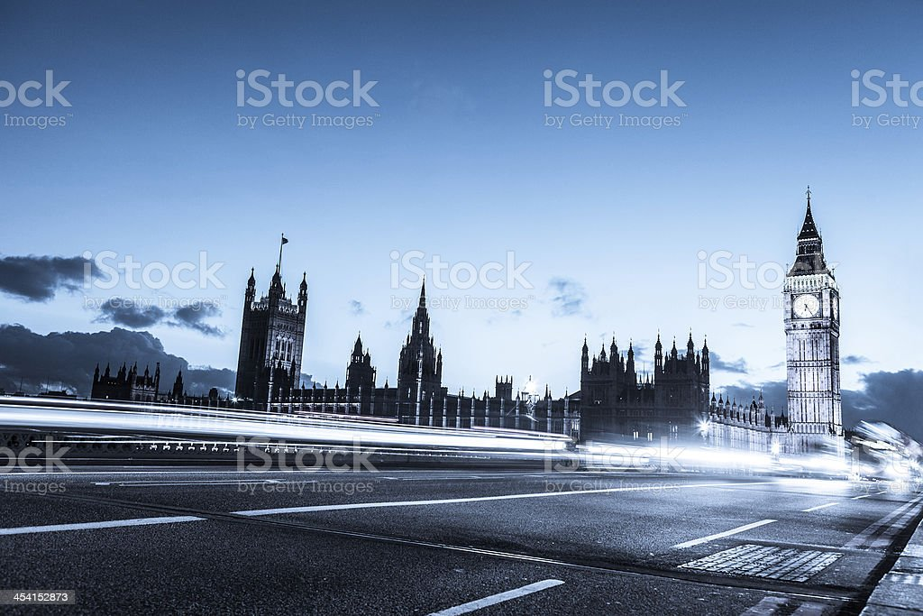 Houses of Parliament and Big Ben by night royalty-free stock photo
