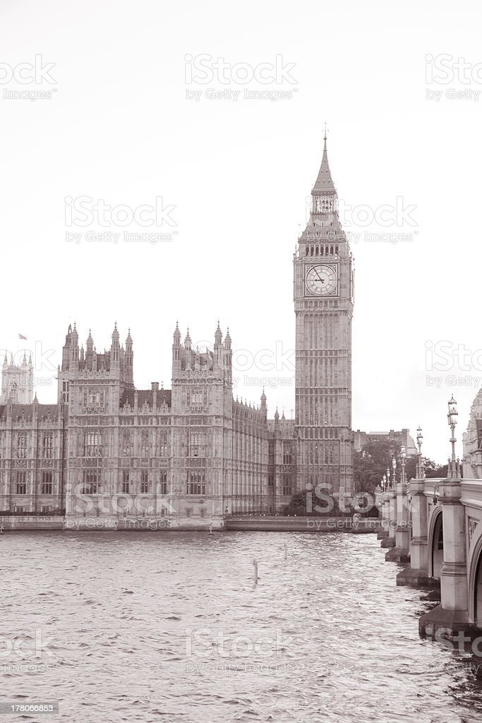 Houses of Parliament and Big Ben in London royalty-free stock photo