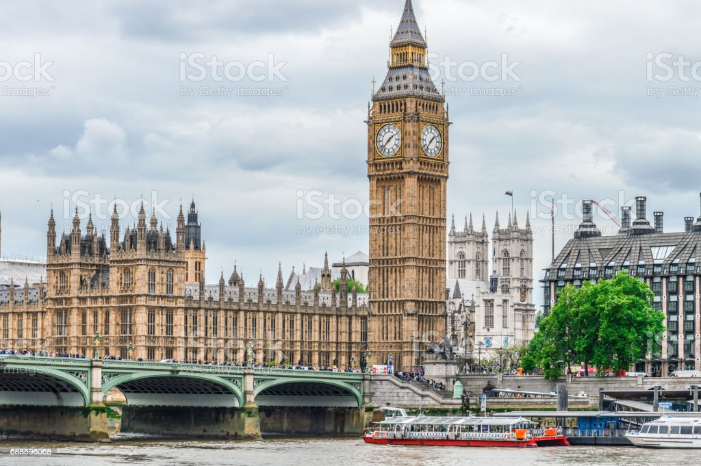 Houses of Parliament and Big Ben - London, UK stock photo
