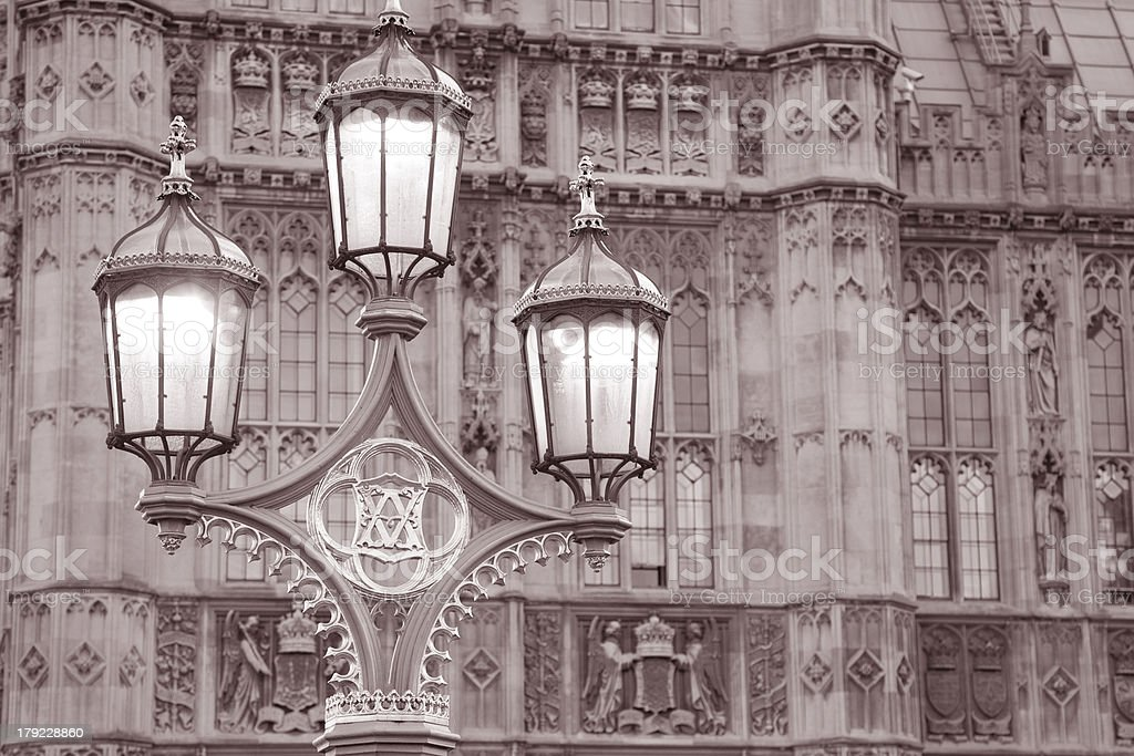Houses of Parliament and Lamppost in Westminster; London royalty-free stock photo