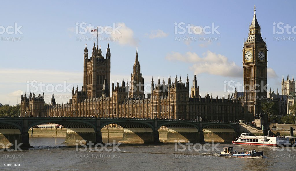 Houses of Parliament and the river Thames royalty-free stock photo