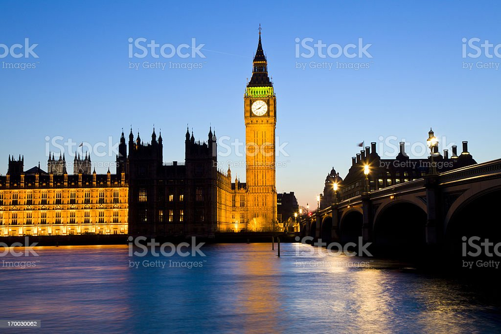 Houses of Parliament and Westminster Bridge in the Evening royalty-free stock photo