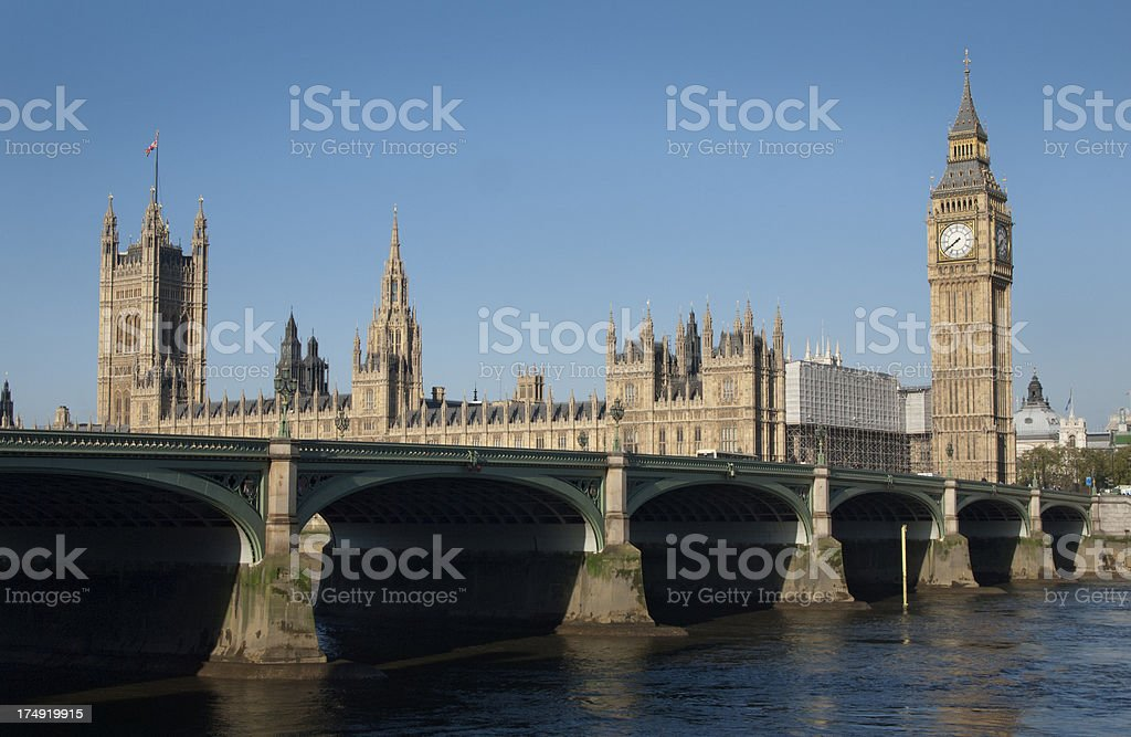 houses of parliament and westminster bridge, london royalty-free stock photo
