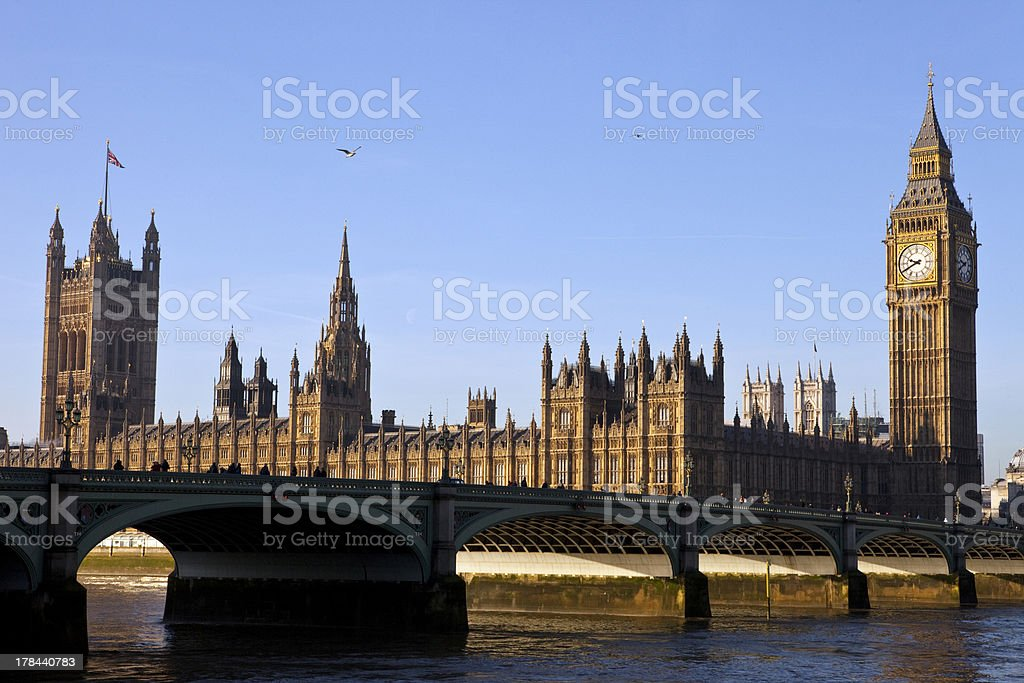 Houses of Parliament and Westminster Bridge stock photo