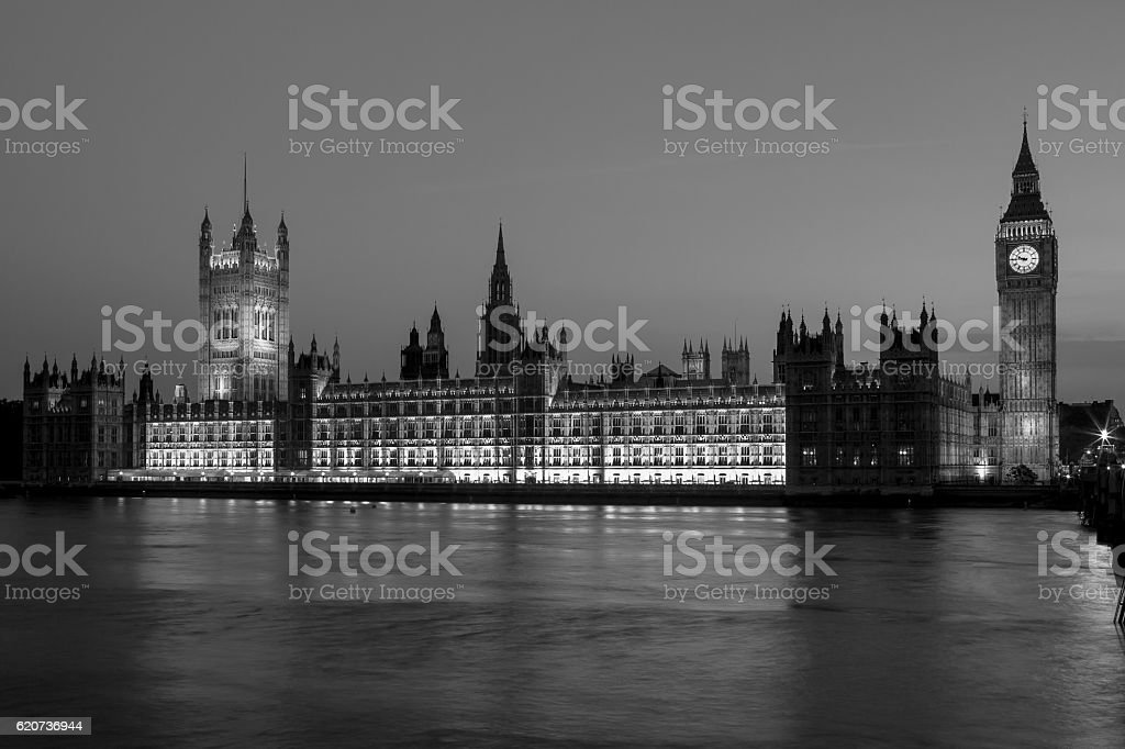 Houses of Parliament at night. London, UK stock photo