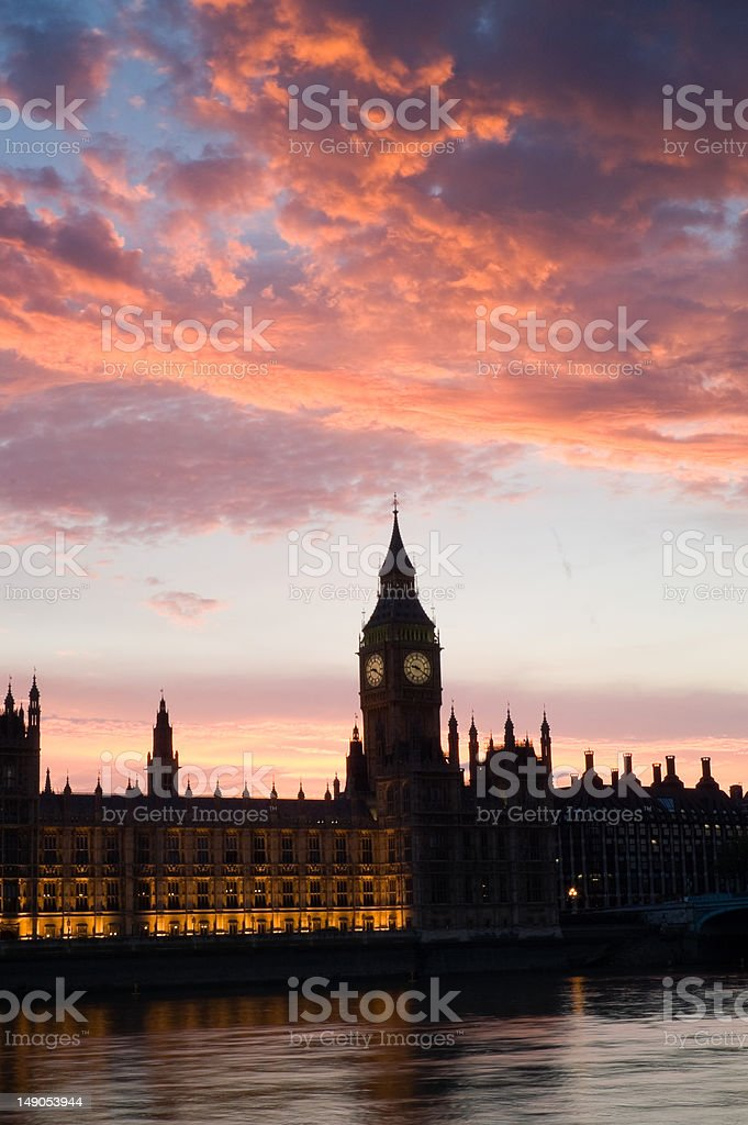 Houses of parliament at sunset, P royalty-free stock photo