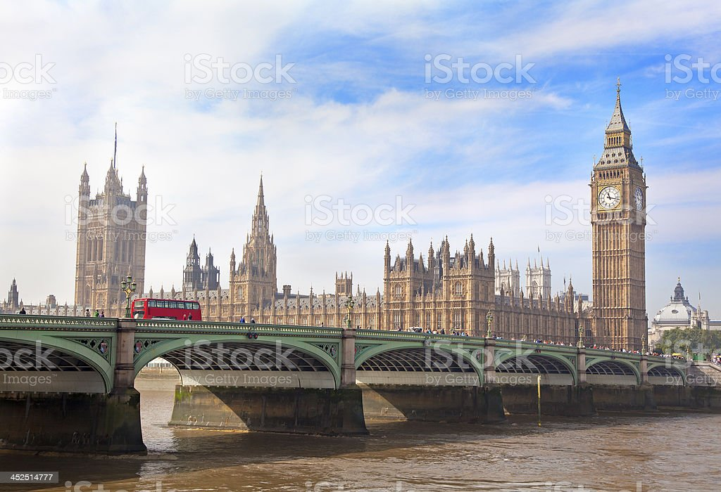 Houses of Parliament, Big Ben and Westminster Bridge, London, England stock photo