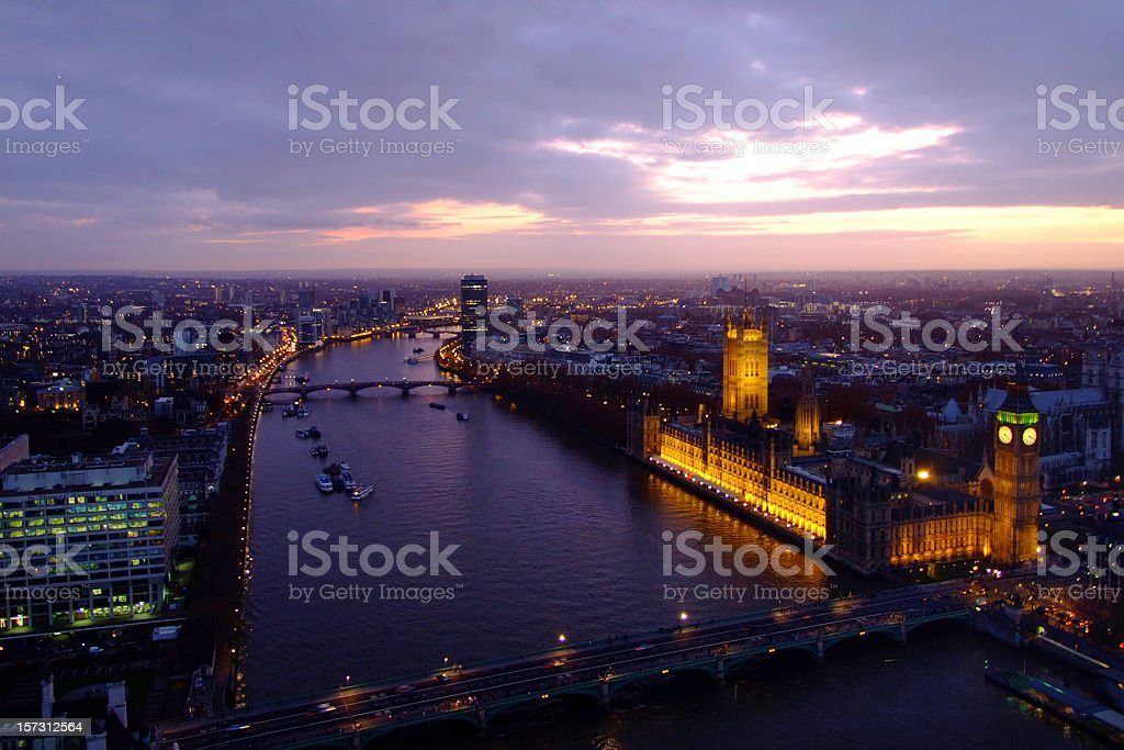 Houses of Parliament, Big Ben, Westminster Bridge and River Thames stock photo