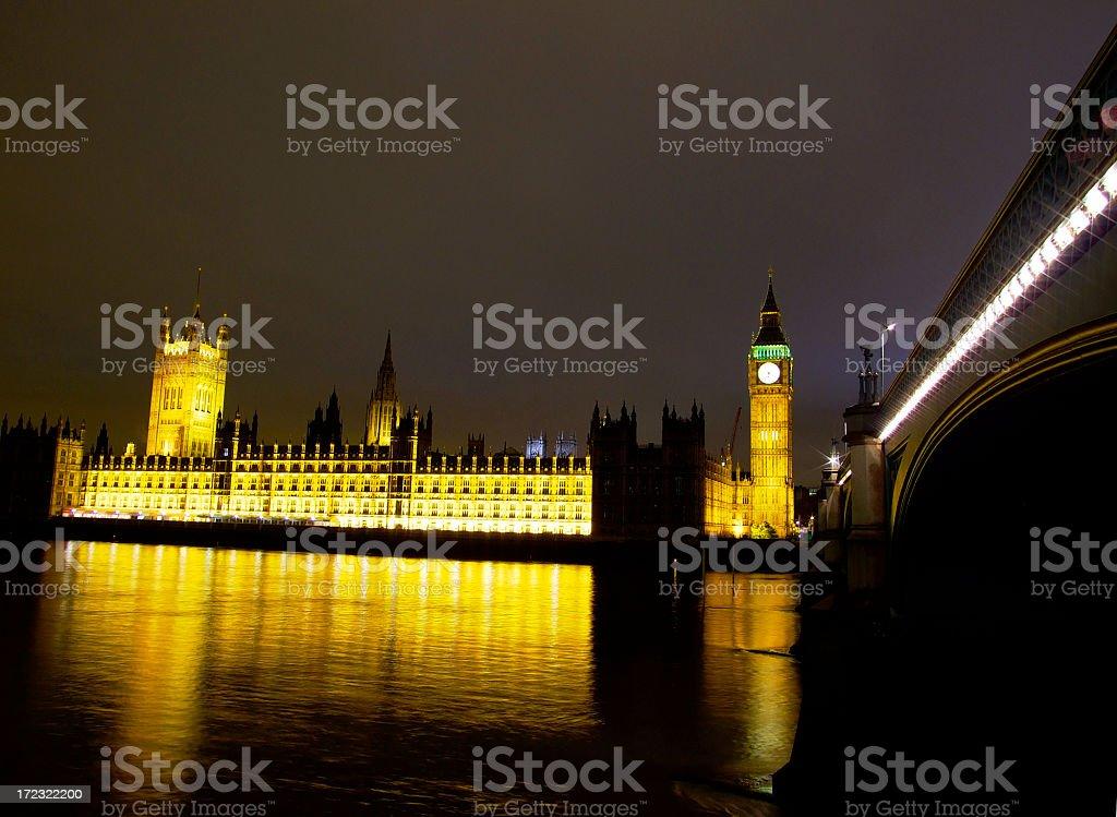 Houses of Parliament, Big Ben, Westminster Bridge royalty-free stock photo