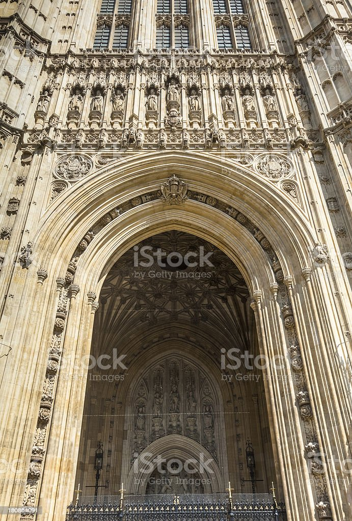 Houses of Parliament, Entrance to Victoria Tower royalty-free stock photo