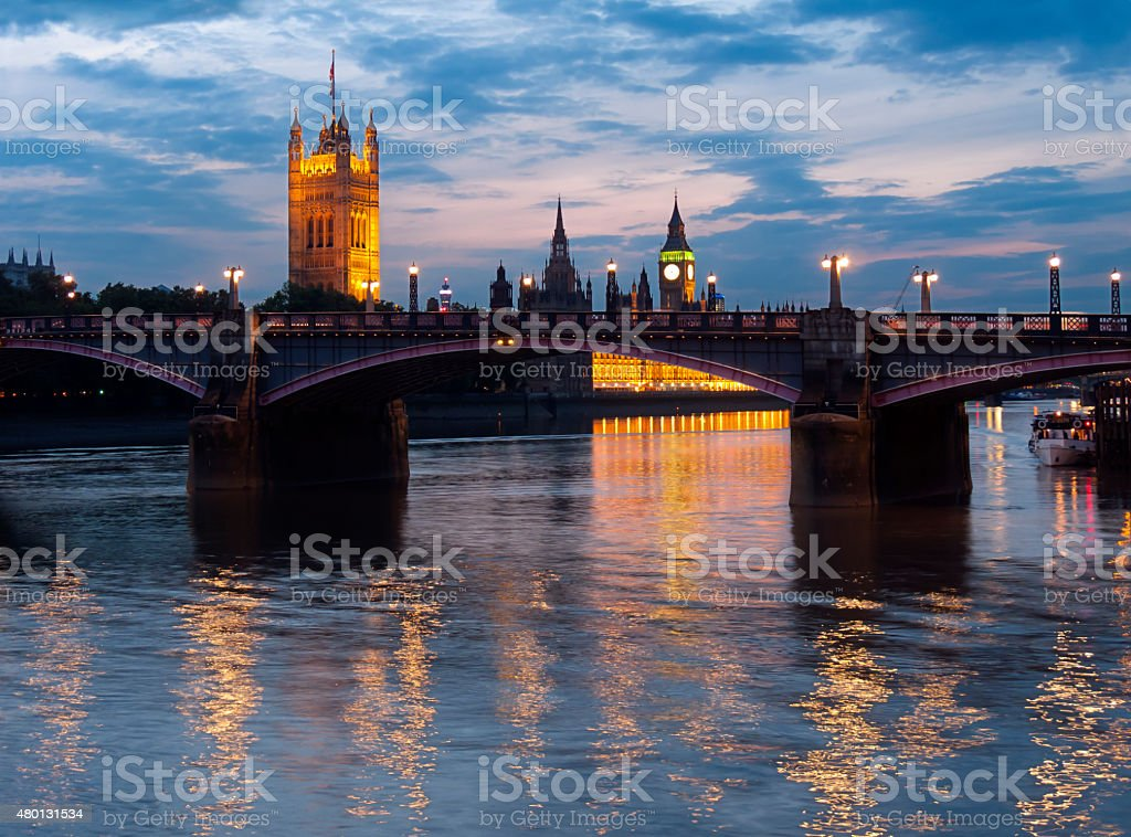 Houses of Parliament illuminated stock photo