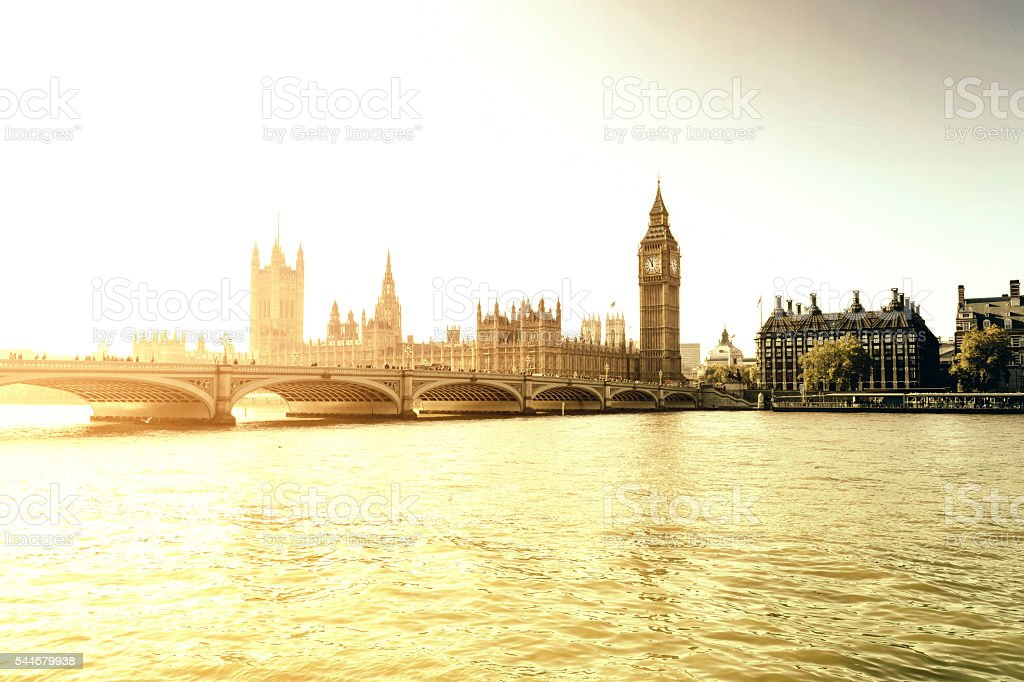 Houses of Parliament in a golden sunset in London stock photo