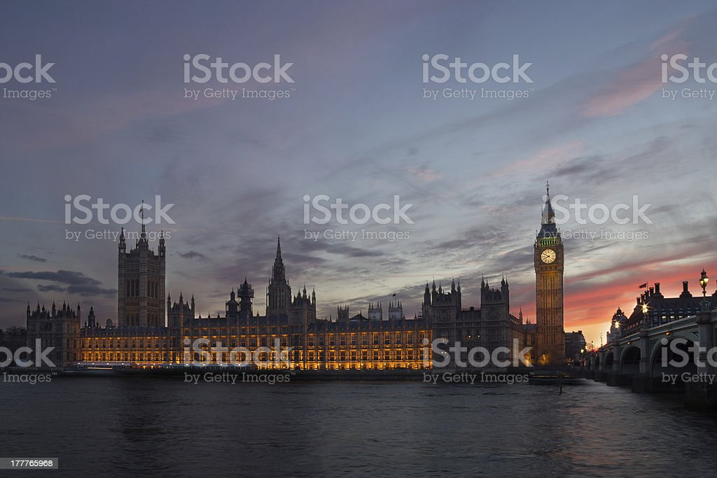 Houses of Parliament in London at dusk royalty-free stock photo