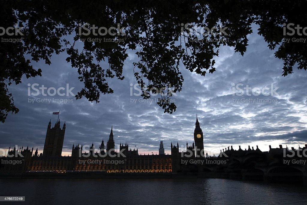 Houses of Parliament in London at night royalty-free stock photo