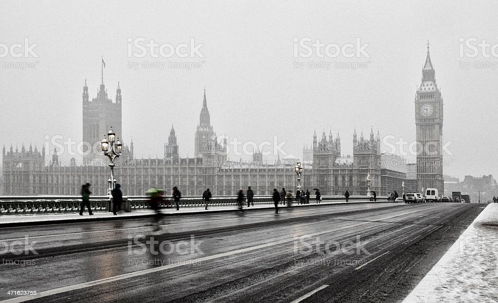 Houses Of Parliament In Snow royalty-free stock photo