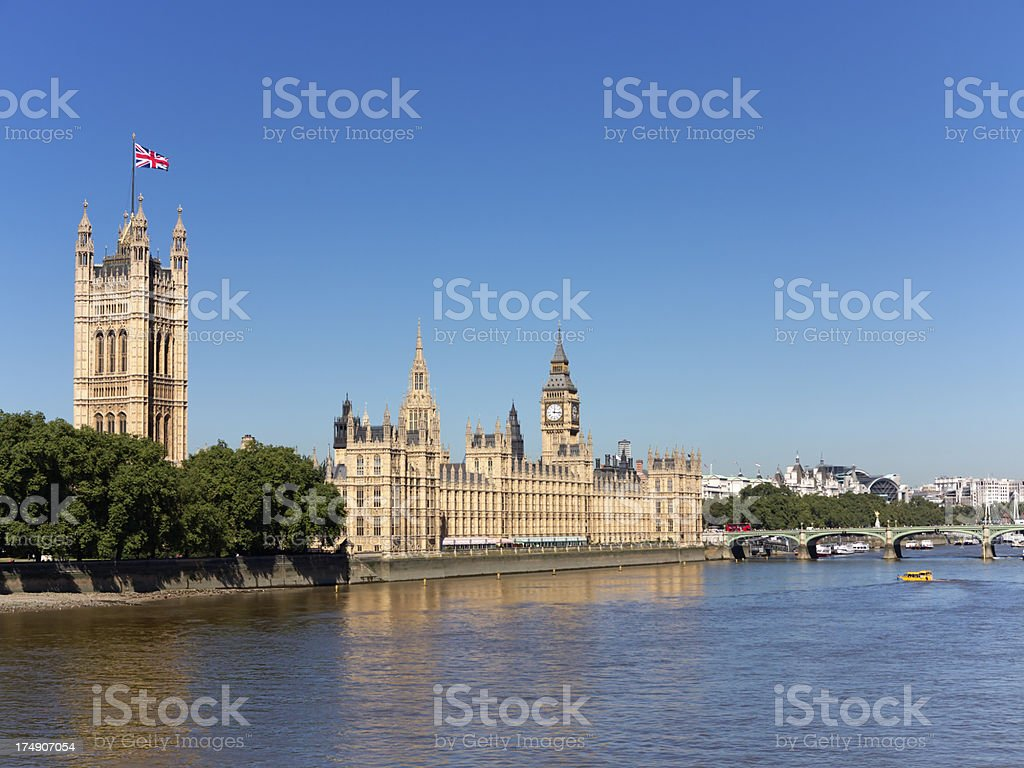 Houses of Parliament London and River Thames royalty-free stock photo