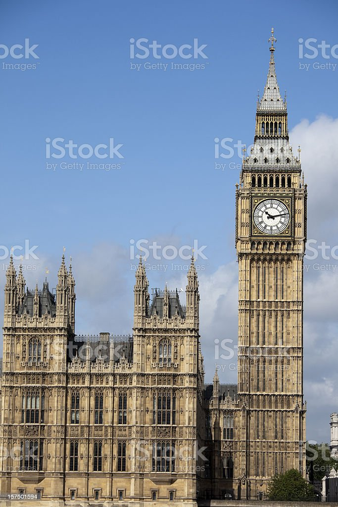 Houses of Parliament, London, UK with copy space royalty-free stock photo