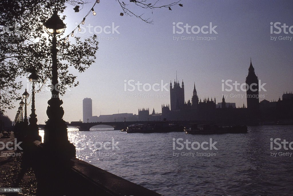 Houses of Parliament silhouette stock photo