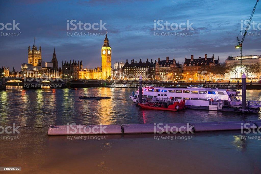 Houses of Parliament, Westminster Bridge, Big Ben stock photo