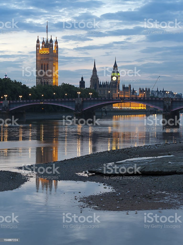 Houses of Parliament with Big Ben in London at dusk stock photo