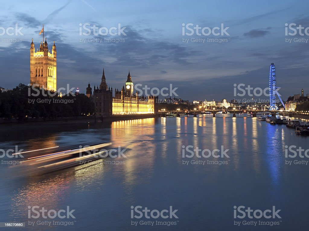 Houses of Parliament with Big Ben in London at dusk royalty-free stock photo
