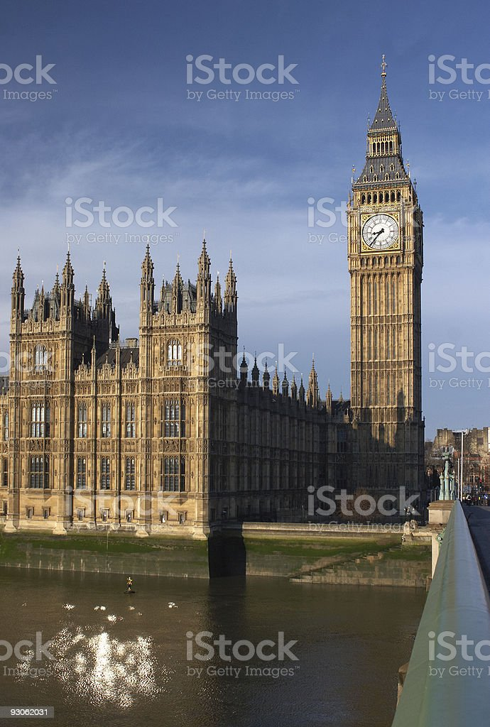 Houses of Parliament with Big Ben tower in London royalty-free stock photo
