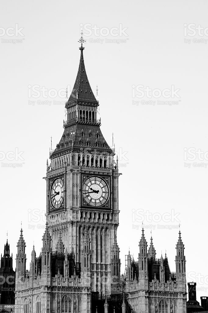 Houses of Parliament with the Big Ben clock tower stock photo