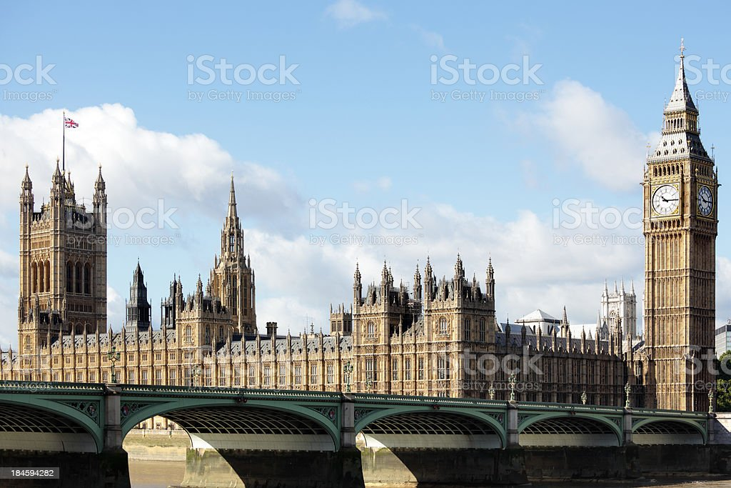Houses of Parliament with Westminster Bridge royalty-free stock photo