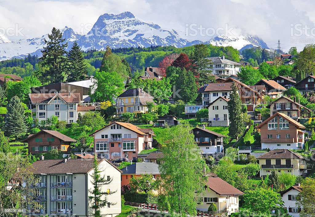Houses of swiss alpine village stock photo