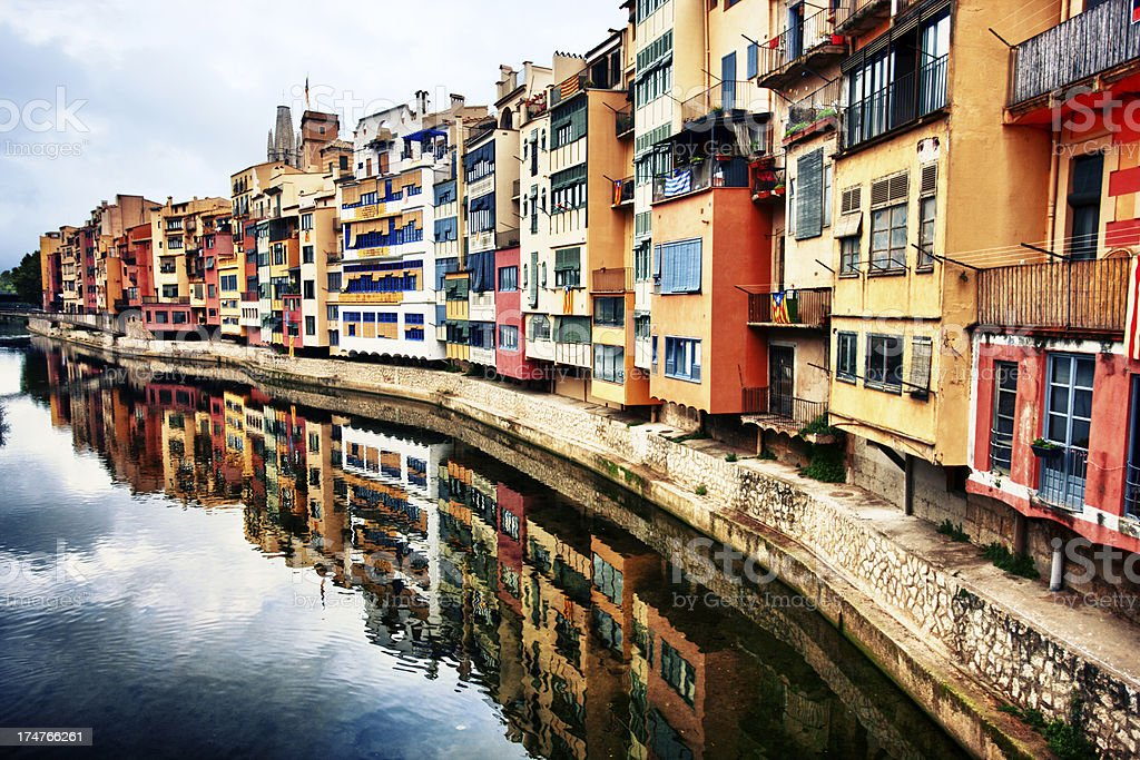 Houses of the Onyar, Girona, Catalonia stock photo