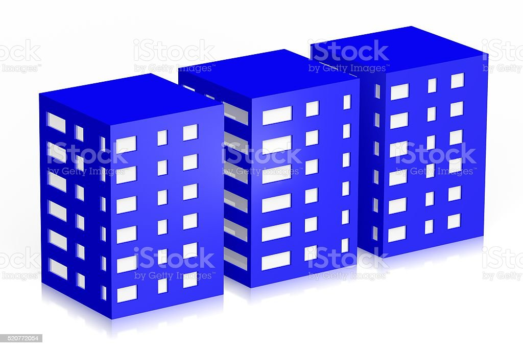 3D houses/ office buildings symbol stock photo