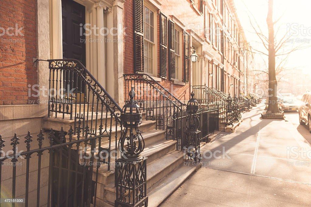 Houses on a street in SoHo New York stock photo