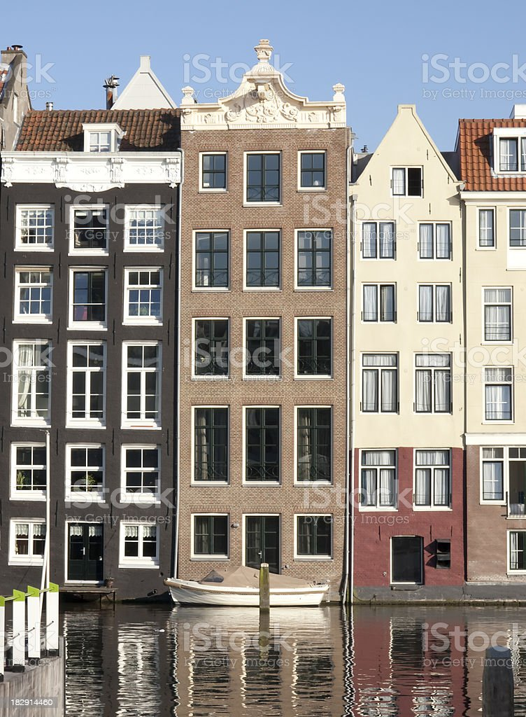 Houses on Canal in Amsterdam Netherlands (Holland) royalty-free stock photo
