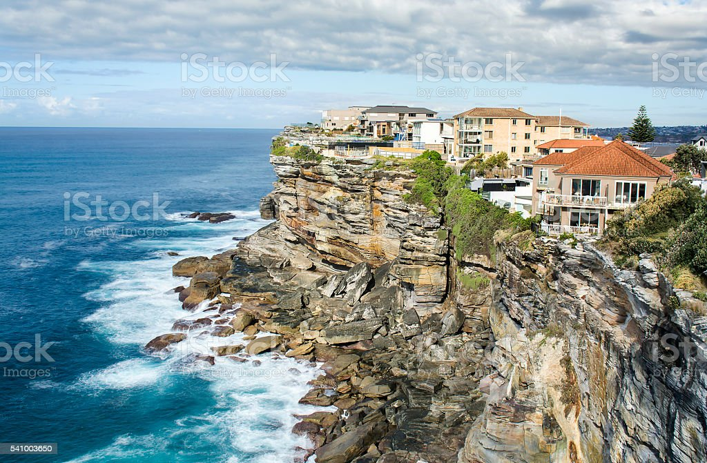 Houses on cliff stock photo