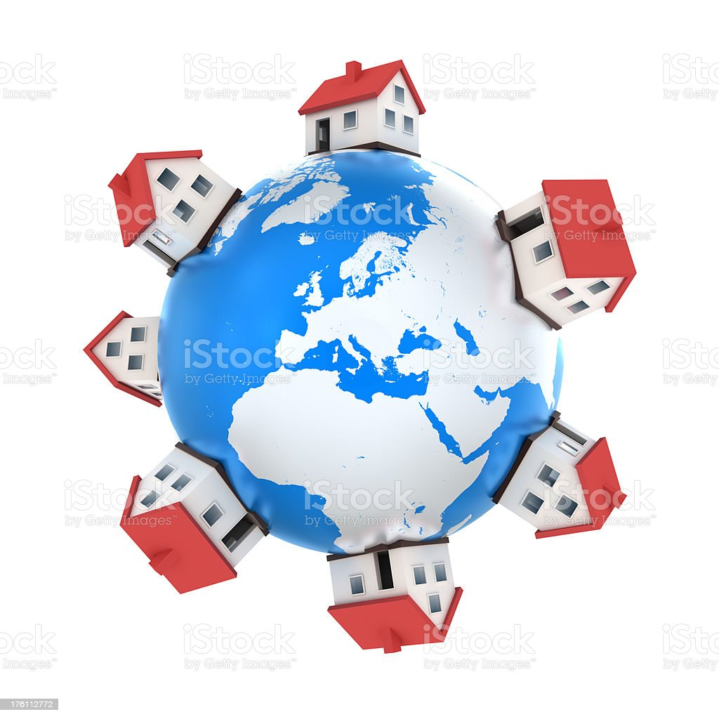 Houses on Earth, Europe central - isolated with clipping path stock photo