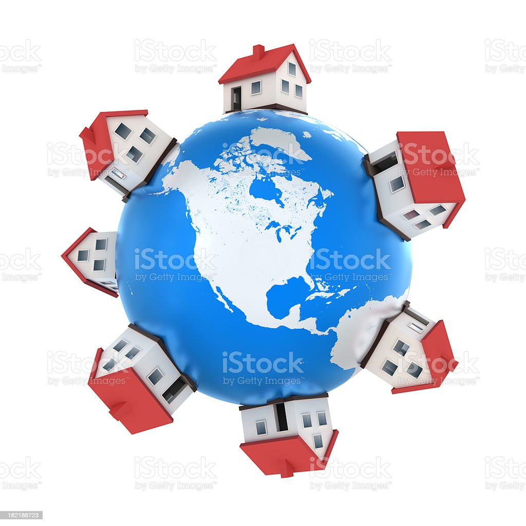 Houses on Earth, USA central - isolated with clipping path stock photo
