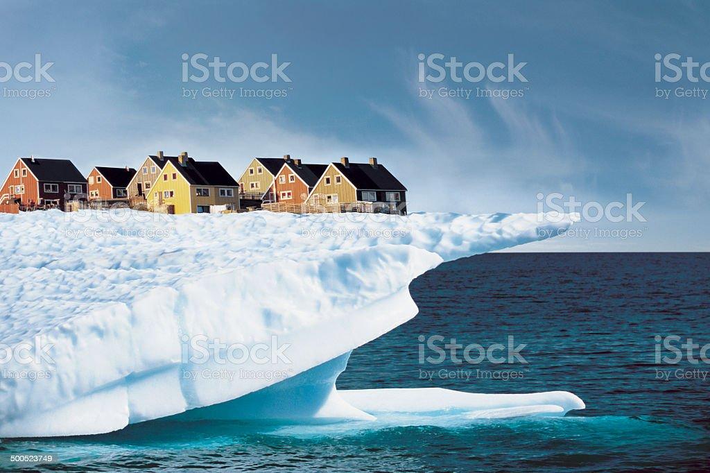 Houses on Edge of Ice Cliff stock photo