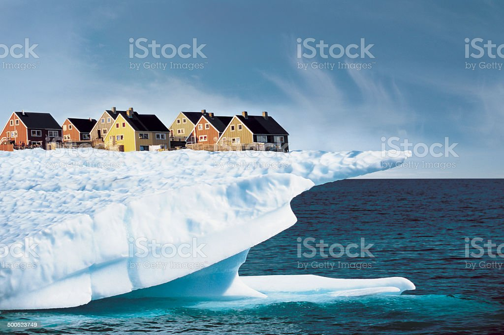 Houses on Edge of Ice Cliff stock photo