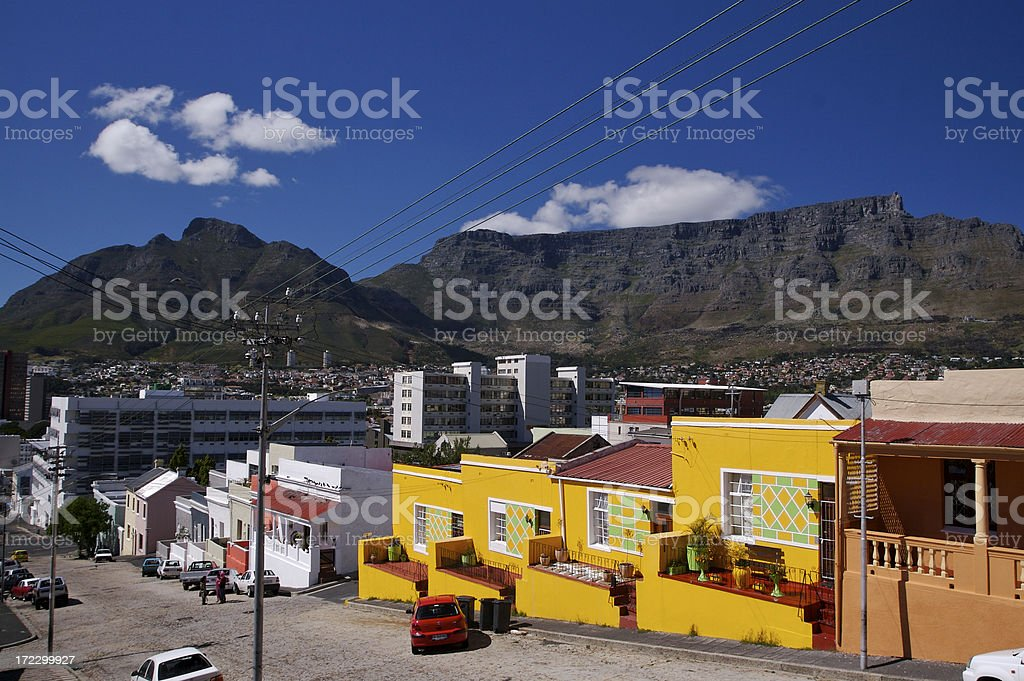 Houses on Hill Street with Cliffs stock photo