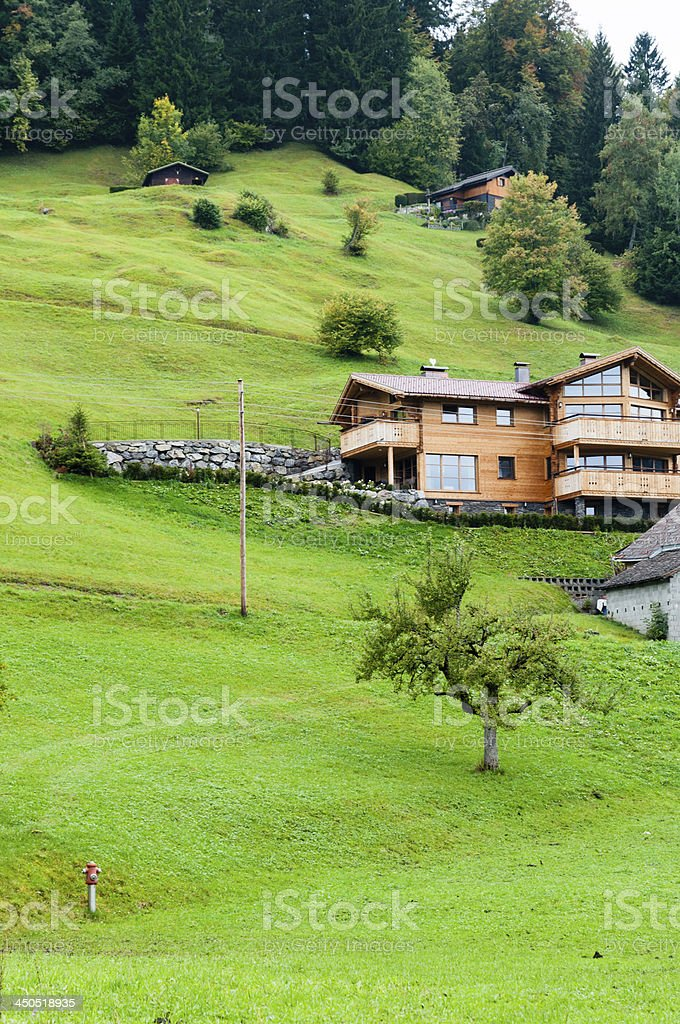 Houses on hilly slope in the Alps, Austria stock photo