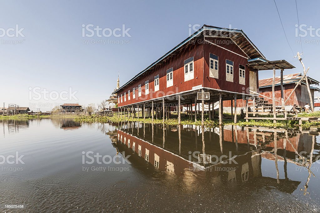 Houses on Inle lake royalty-free stock photo