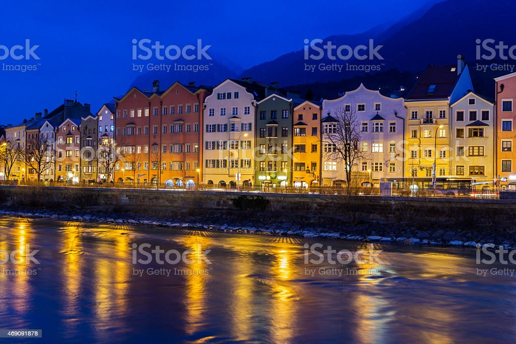 Houses on Mariahilfstrasse in Innsbruck in Austria stock photo