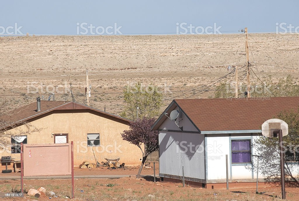 Houses on Navajo Reservation in northern Arizona stock photo