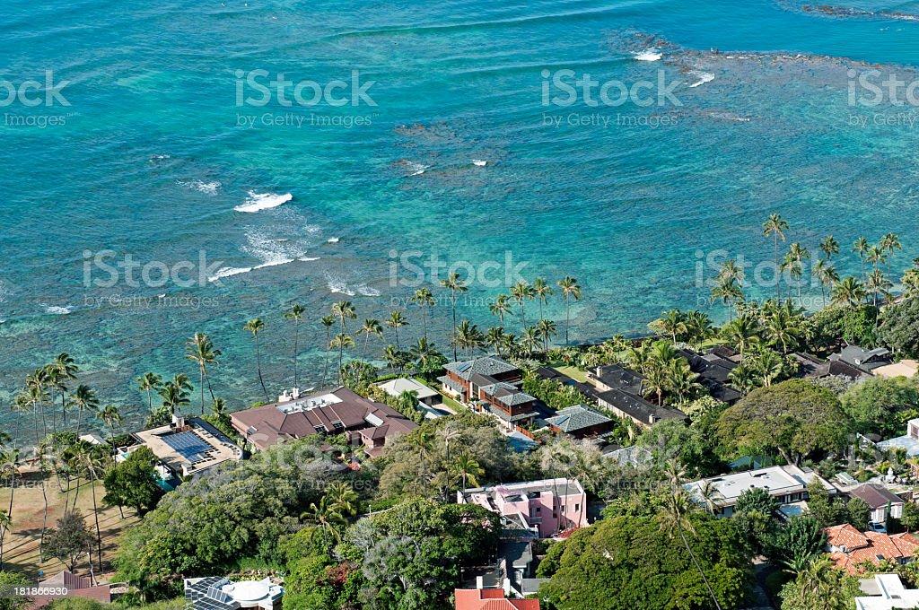 Houses on Pacific Ocean in Oahu HI royalty-free stock photo
