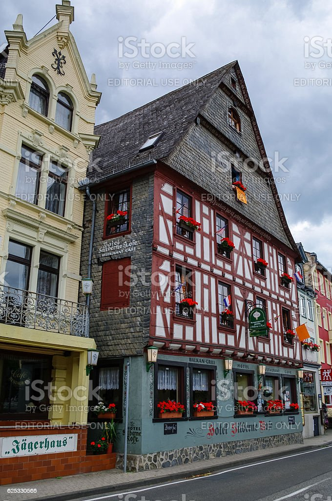 Houses on Rhine embankment in medieval village of Sankt Goar stock photo