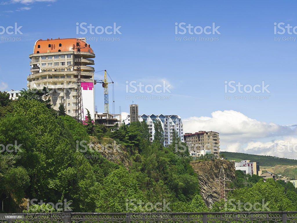 Houses on rock stock photo