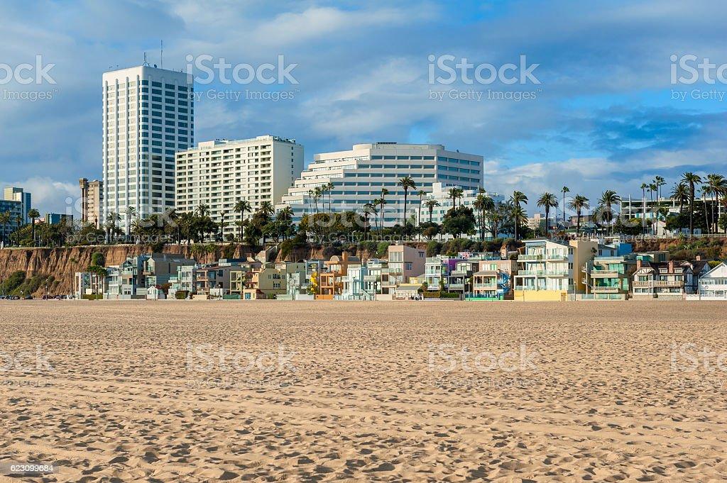 Houses on Santa Monica Beach California stock photo