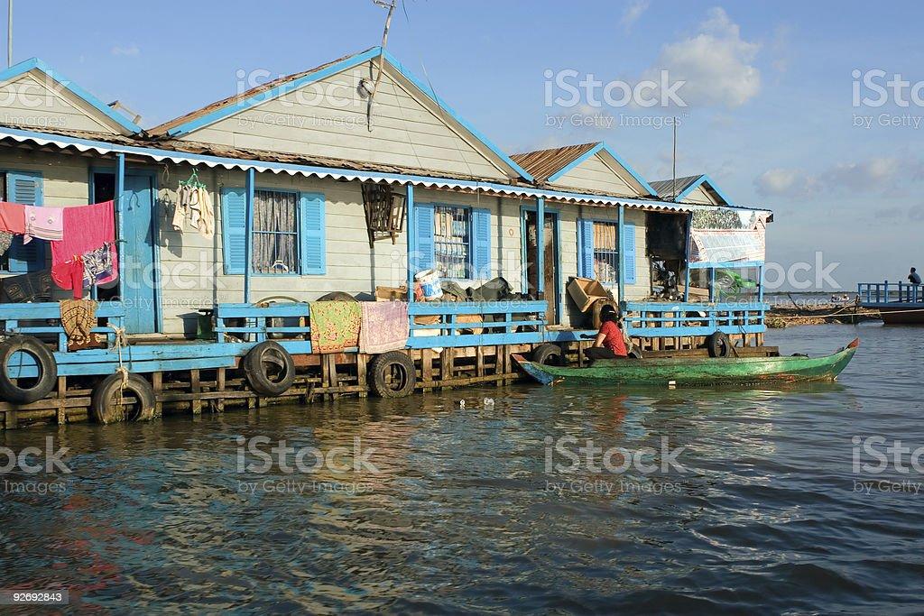 Houses on stilts. Village in Cambodia stock photo