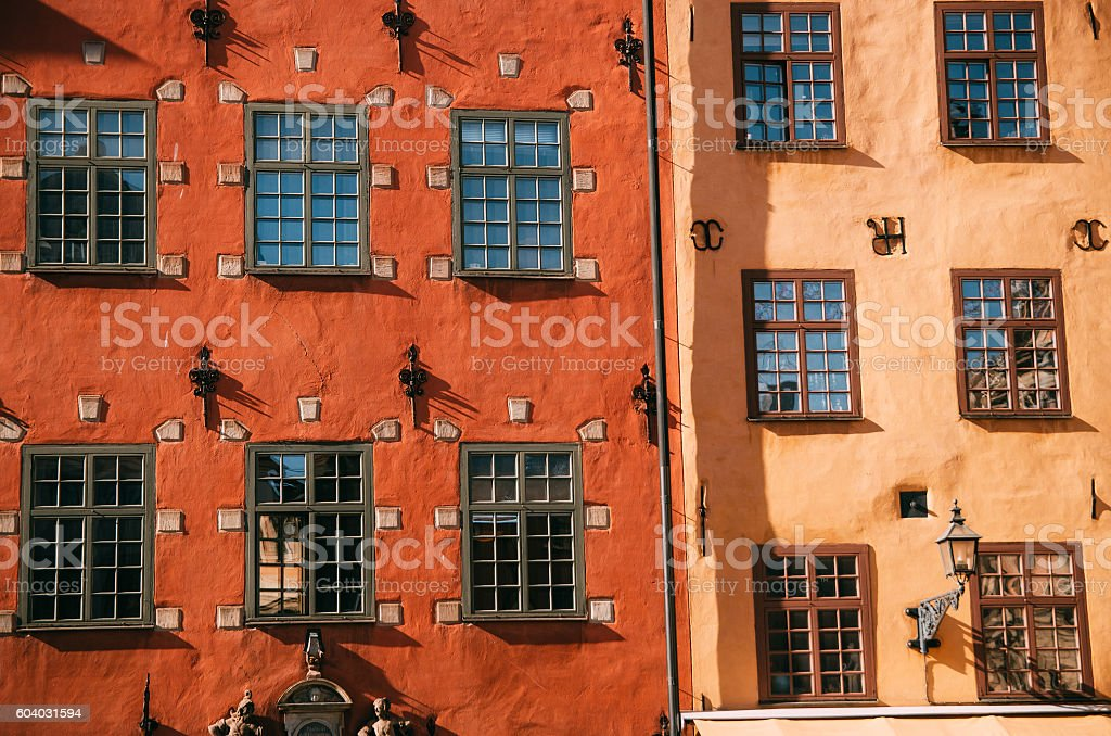 Houses on Stortorget square in Gamla stan, Stockholm, Sweden stock photo