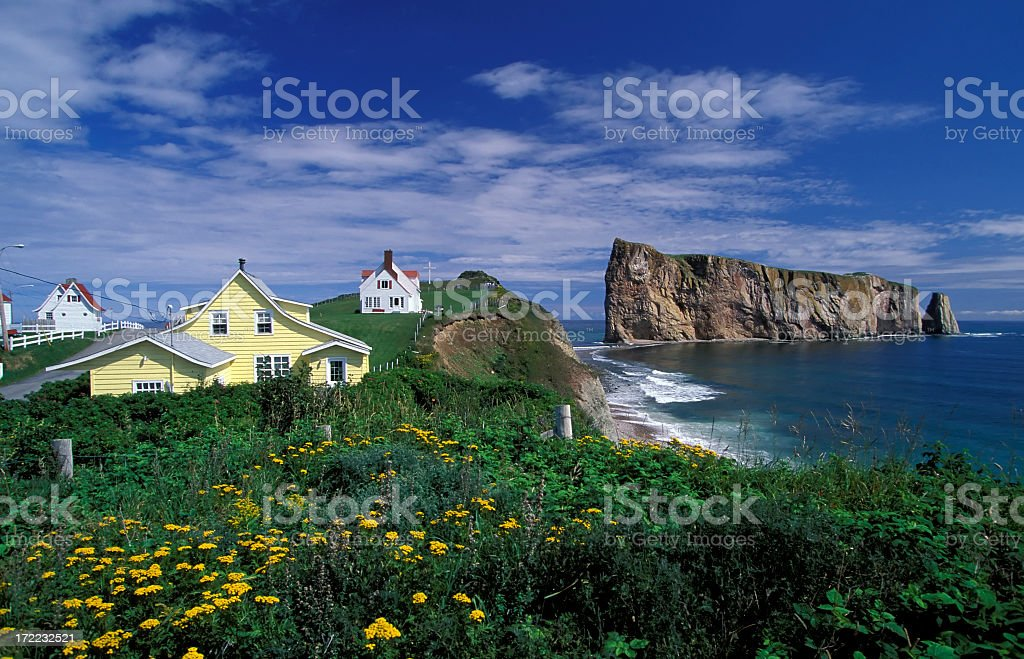 Houses on the coast of Perce, Quebec, Canada  stock photo